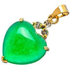 Chinese Emerald Green Jade Jadeite 24K Yellow Gold Plated Heart CZ Pendant #024