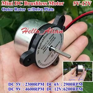 0mini two wire dc brushless motor dc 5v 12v 2300 6200rpm micro rh ebay com Brushless Servo Motor Model Reverseble 12V DC Motor