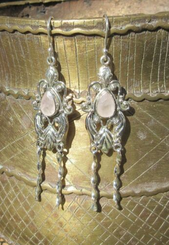 Ohrring im Antikstil mit Rosenquarz rosa Stein der Liebe Sterling Silber 925