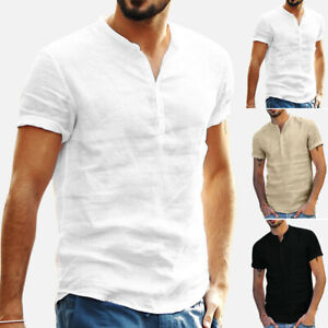 Men-Cotton-Linen-Solid-T-Shirts-Tops-Blouse-Short-Sleeve-Summer-Retro-Pullover