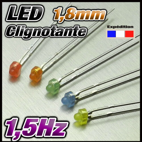 331M#25 LED 1,8mm clignotante  5 x 5 LED rouge jaune bleu orange vert