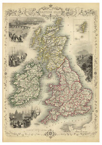 British-Isles-England-Scotland-Ireland-illustrated-map-John-Tallis-ca-1851