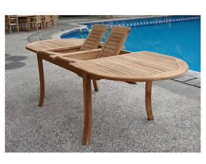 GradeA Teak Wood Double Extension Oval Dining Table Outdoor - Teak extension table outdoor