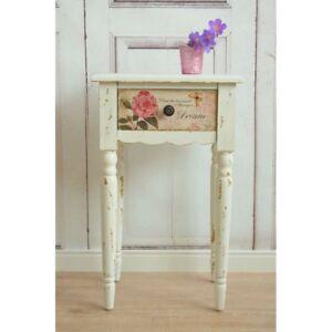 Details zu Beistelltisch - Shabby chic Nachttisch mit Schublade in french  rosa weiß - 62 cm