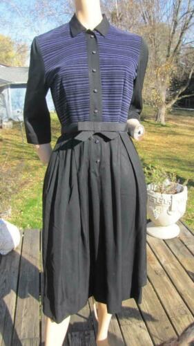 1940s MINX MODES BLACK GABARDINE DRESS W PURPLE CO