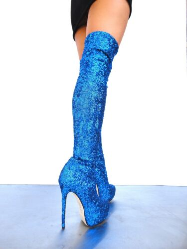 Paillettes Platform Bleu Botte Stretch 35 Cq Stiefel Couture Overknee wqaUST4S