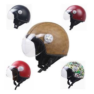 DOT Vintage Motorcycle Half Helmet Open Face Jet Helmet Deluxe Leather Scooter