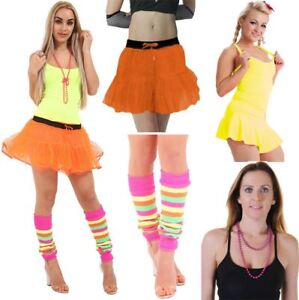Womens-Neon-Vest-2-Layer-Tutu-Skirt-Bead-Necklace-Leg-Warmer-Ladies-Fancy-Dress