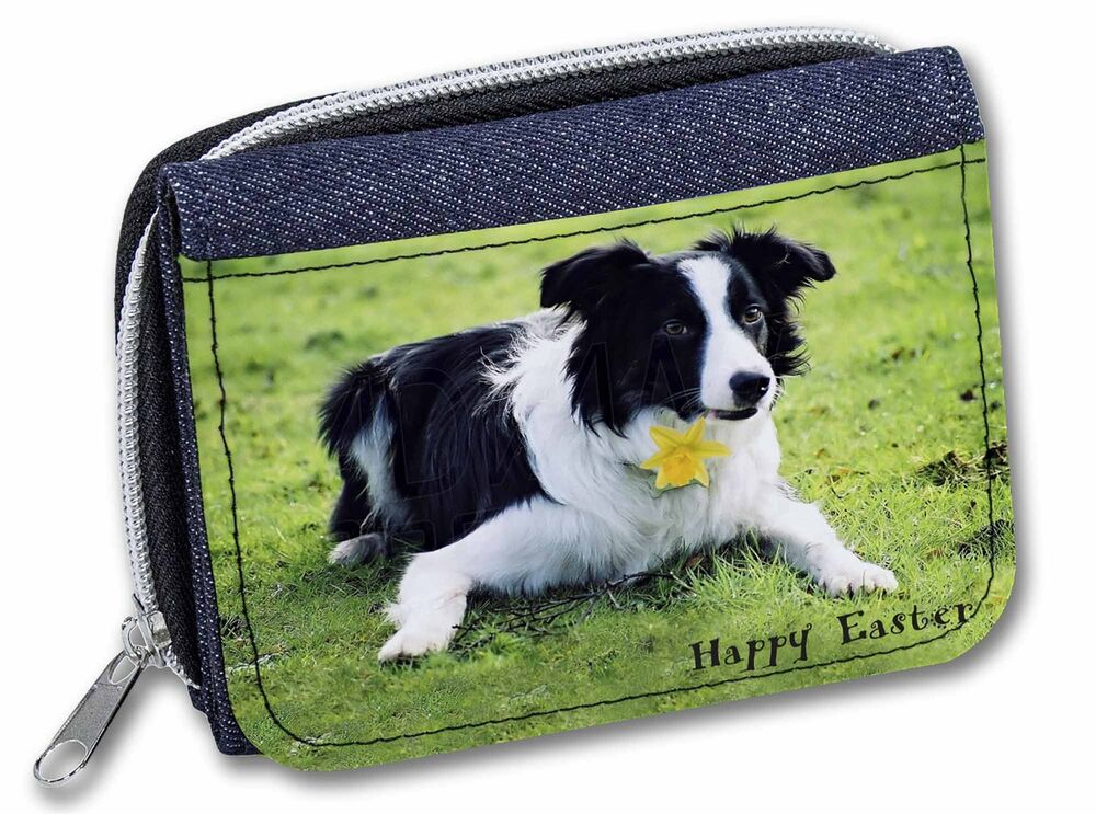 'happy Easter' Border Collie Girls/ladies Denim Purse Wallet Chris, Ad-co69da1jw