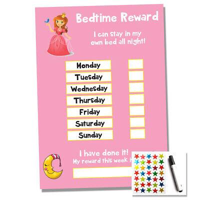 Princess Bedtime Nightime Reward Chart Kids Child Sticker Star Sleep Own Bed Ebay