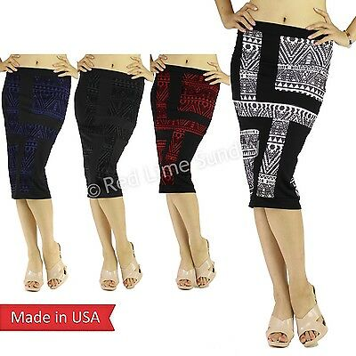 Mesh Burn Out Aztec Geometric Pattern Black Stripe Fitted Color Pencil Skirt USA