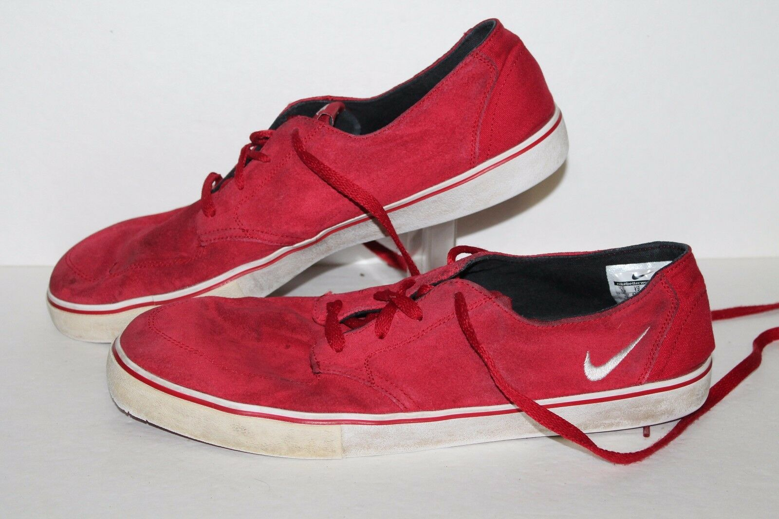 Nike Braata LR Casual Sneakers, Red, Leather, Mens US Comfortable  Casual wild