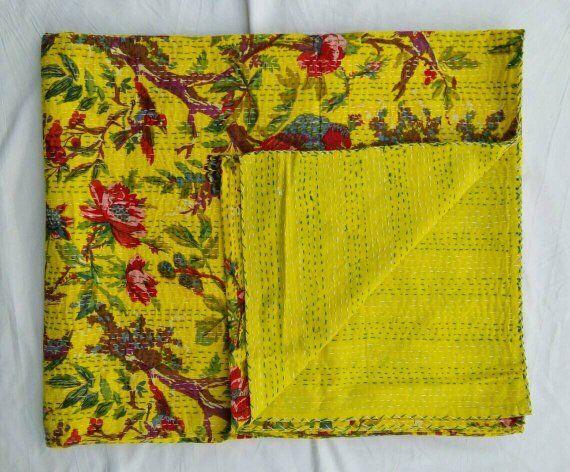 Indian twin size cotton kantha handmade quilt vintage bohemian bedding bedspread