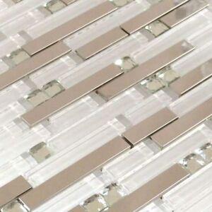 White Glass Liner Mosaic Blended Polished Stainless Steel Backsplash