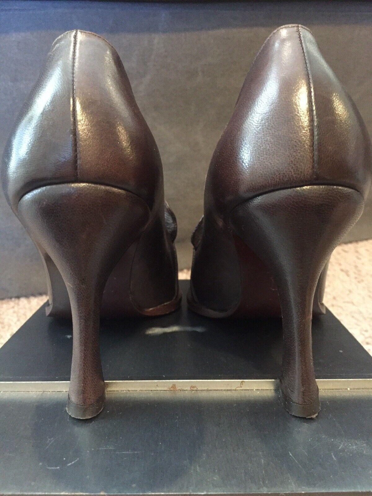 Emporio Armani Bomba De Volantes De Cuero Cuero Cuero Marrón Chocolate impresionante talla 36.5 6 ff4dfb