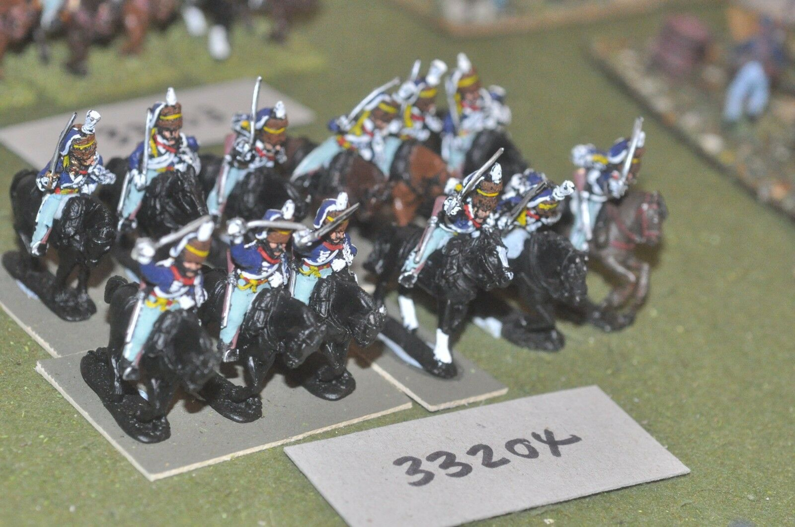 25mm napoleonic   british - hussars part painted 12 figures - cav (33204)