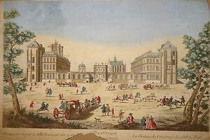 GRANDE-Gravure-XVIII-VUE-D-039-OPTIQUE-COULEURS-PARIS-CHATEAU-VINCENNES-PARC-JARDIN