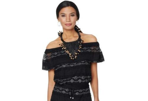 Nikki Poulos Metallic Trim Black Crochet Stretch Pullover Top Small Size HSN $69