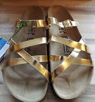 Betula By Birkenstock Strappy Sandal Adjustable Strap Metallic Gold 4.5 Eu 37
