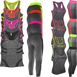 Damen BRA Microfaser Sport Top + Leggings Sport Set Training Zweiteiler