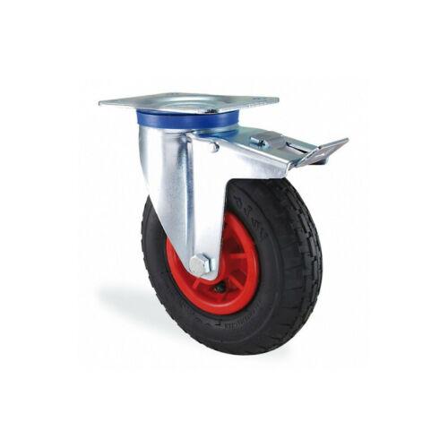 Roulette pivotante à frein gonflable diamètre 260mm charge 150kg