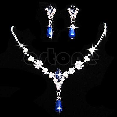 Prom Wedding Bridal Crystal Rhinestone Pearl Drop Necklace Earrings Jewelry Sets