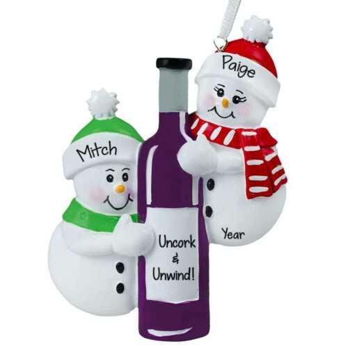 Snowman Couple Hugging Wine Bottle Ornament