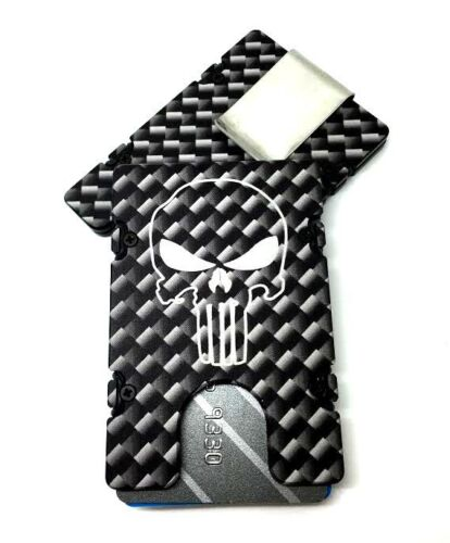 RFID Protection Punisher Aluminum Wallet//Card Holder Carbon Fiber Pattern