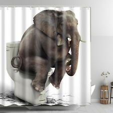 Elephant Toilet Shower Curtain Waterproof Washable Funny Fabric Bathroom Decor