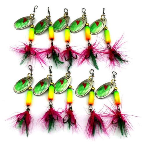 SP057 10PCS Feather Sequins Bionic Fishing Lure Crank Bait Base Hook Set  #ur