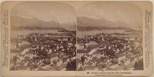 Panorama Da Lucerna Suisse Foto Stereo Vintage Albumina 1897