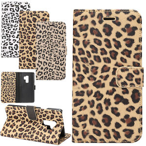 Samsung-S9-Plus-iPhone-X-Case-Leopard-Wallet-Card-PU-Leather-Purse-Flip-Cover