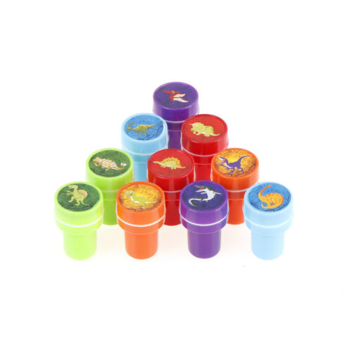 10pcs Mixed Dinosaur Ink Stamper Art Craft Stamps Kids Party Favors Toy FG