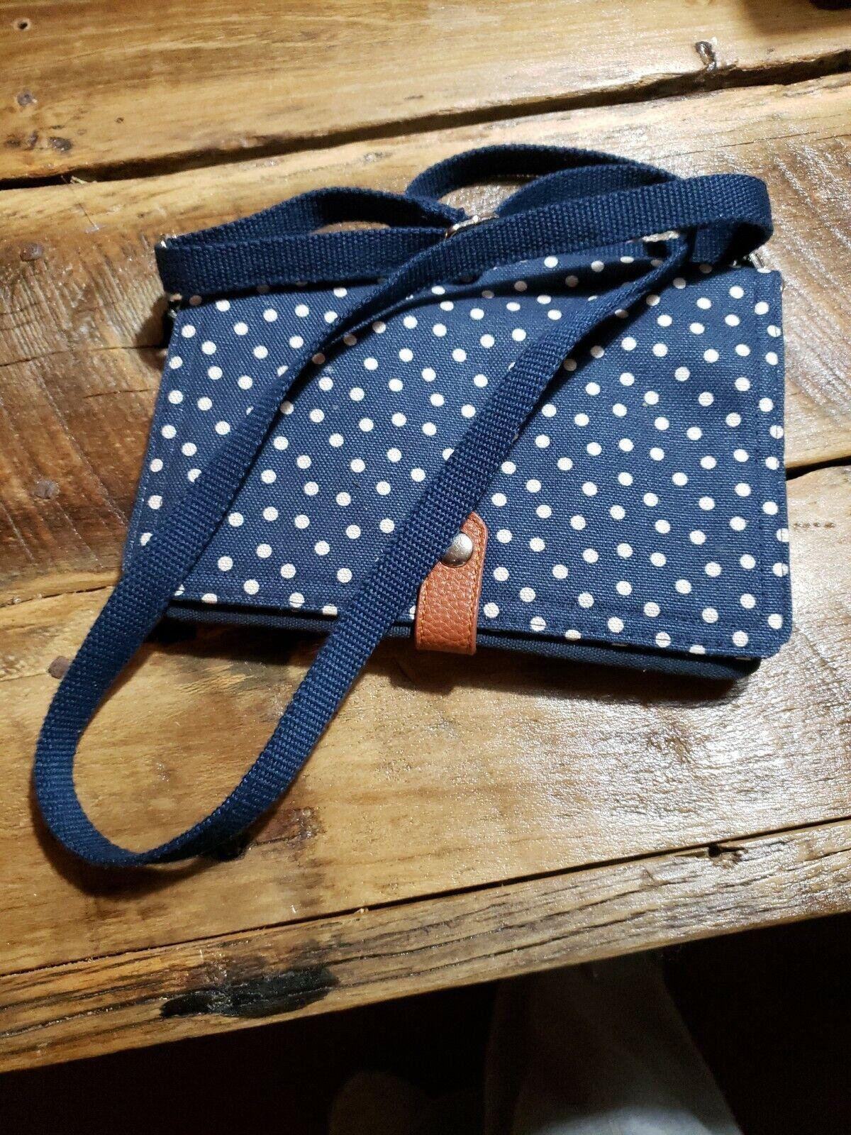 THIRTY ONE Navy Blue Polka Dot Double Up CROSSBODY Travel Purse Tote Bag