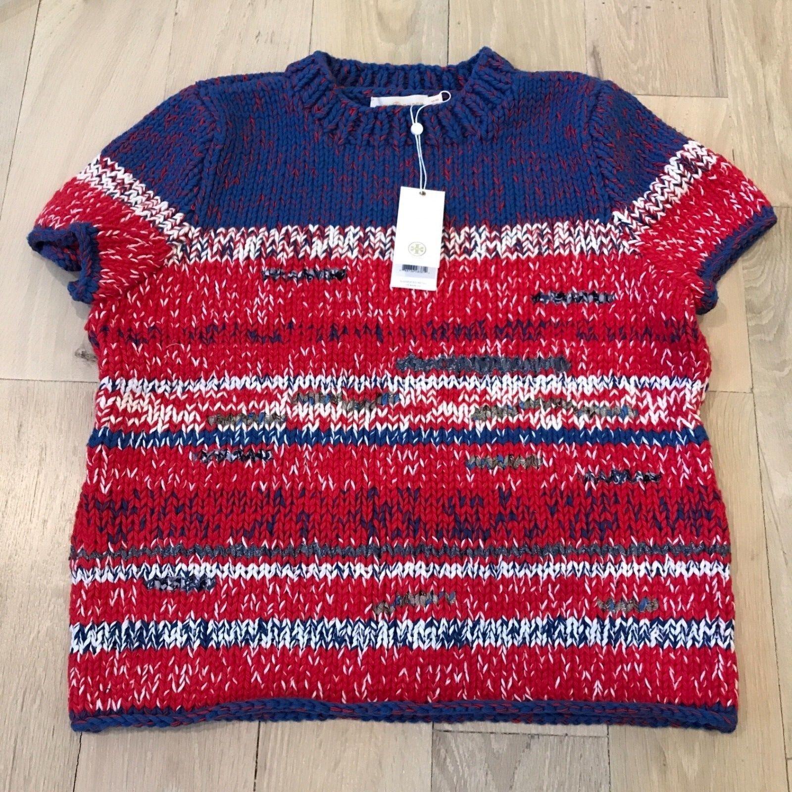Tory Burch Brilliant Red Mouline Short Sleeve Sweater Cotton bluee Medium NWT