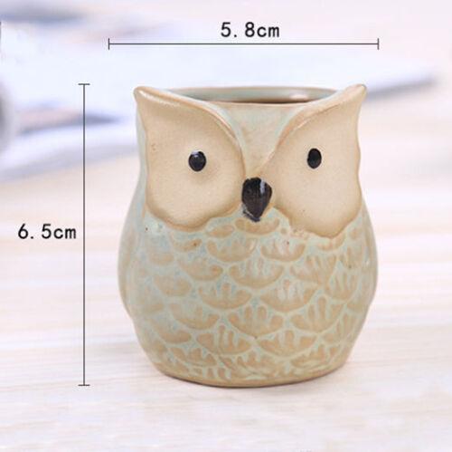 Cute Owl Mini Ceramic Succulent Planter Pot Flower Plant Home Garden Decor Gift