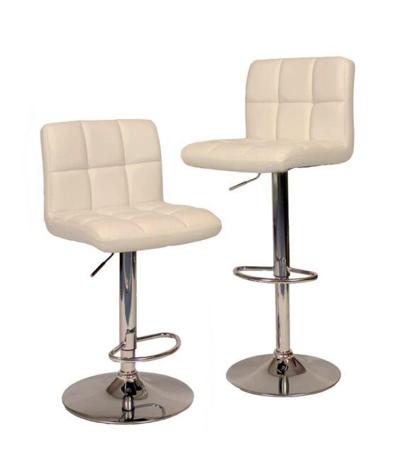 2 White Modern Bar Stool PU Leather Adjustable Swivel Hydraulic Chair Counter