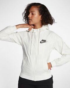 minorista online fabricación hábil chic clásico Detalles de Nike Ropa Deportiva Cortavientos Mujer CHAQUETA Crema Blanca  Sail