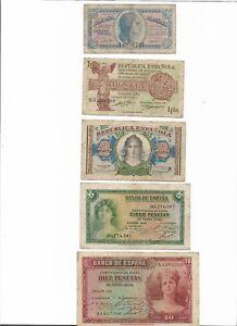 EspaÑa: Lote De 5 Billetes Ii RepÚblica 1935-1937. Rc+bc-. Excelentes Piezas. Xvyig47a-08001433-687888997