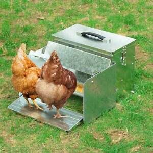 12L Automatic Chicken Feeder Portable with Lock Treadle Trough Poultry Farm Tank