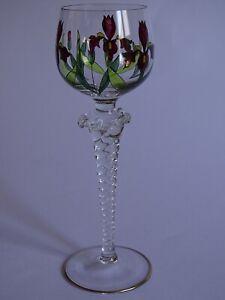 GéNéReuse 1 Verre Roemer Cristal De Theresienthal Decor Floral Emaille N°2
