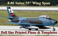 F-86 Sabre 55ws 1/8 Giant Scale Rc Airplane Full Size Printed Plans & Templates