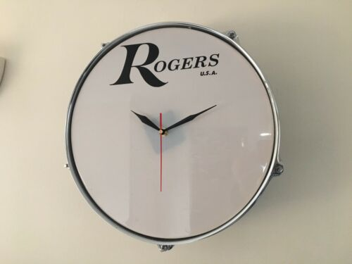 "12/"" or 13/"" Tom Tom Drum Clock With Rogers Logo Ideal Gift For Drummer FREE P/&P"