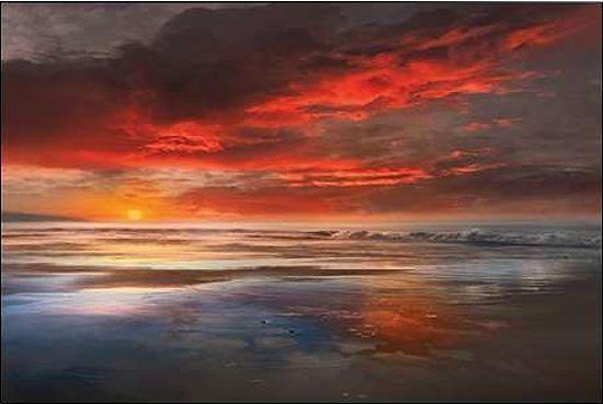 Mike Calascibetta: Calascibetta: Mike before the Moon marcos de cuña-imagen lienzo mar puesta de sol 472c82