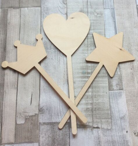 Pack of 3 wood fairy princess wands in 3 different designs tiara heart star 6mm