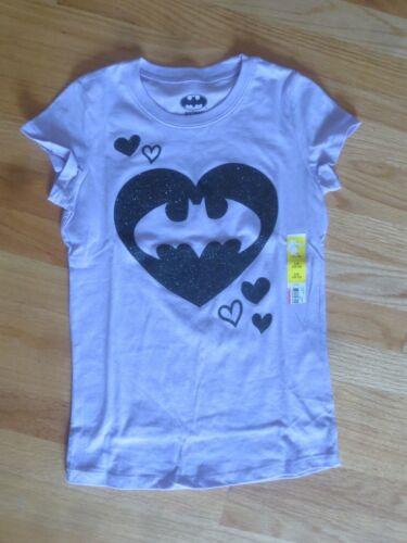 Girl BLACK GLITTER BAT BATMAN LOGO HEART LAVENDER PURPLE SHIRT NWT 10 12