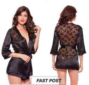 Sexy-Lingerie-Nightwear-Sleepwear-Lace-Dress-Bath-Robe-G-string-XL-XXL-FastPost