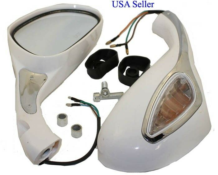 White Mirrors w built in blinkers set for Moped Scooters (8mm thread)