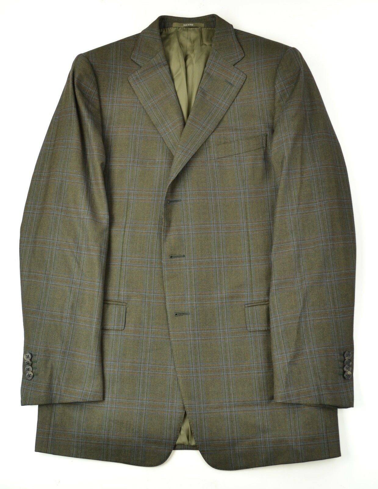 ERMENEILGO ZEGNA MOST RECENT LABEL TROFEO Roma Fit Brown Plaid Sportcoat 42 XL