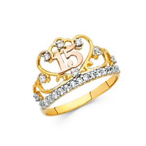 14K Solid Yellow Gold Sweet 15 Anos Quinceanera Birthday Diamond Crown Ring